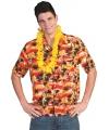 Tropisch overhemd rood met oranje