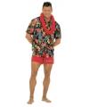 Zwarte Hawaii blouse voor volwassenen